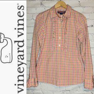 VINEYARD VINES Ruffle front plaid dress shirt
